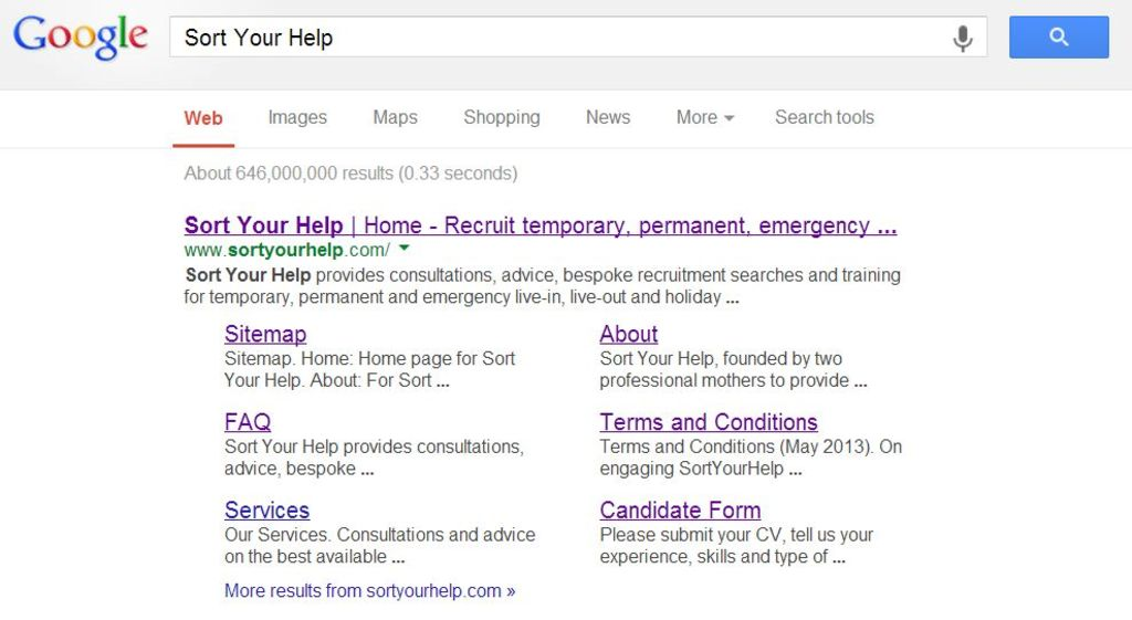 Sort Your Help Google search results