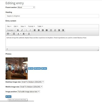 Edit a page entry